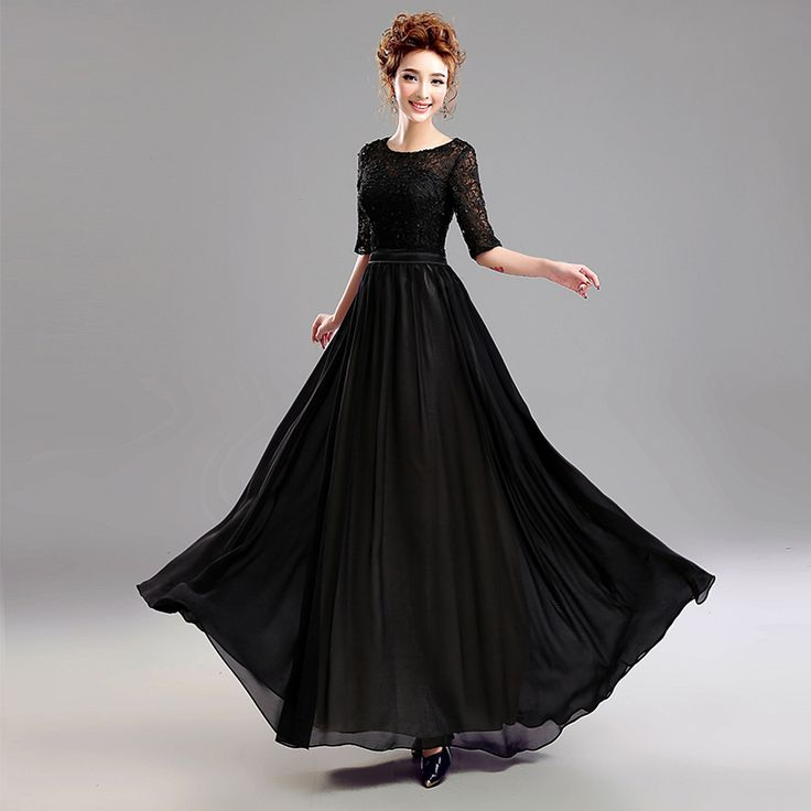 Simple Elegant Wedding Dress With Sleeves Woman And More: New Fashion A-Line Elegant Black Beaded Lace Long Evening
