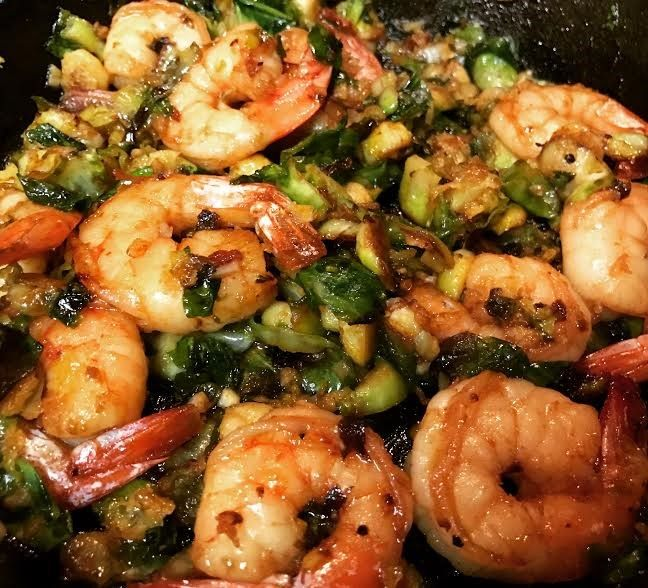 I love creating recipes with super fresh ingredients. I love it even more when I am unsure about the combination of ingredients and it turns out to be amazing. Who would ever think that shrimp and brussel sprouts can be combined to make one incredible dish? Here it is...and you are going to love it! Start with 1 lb. of high-quality shrimp. Of course, I got these beauties from The Carolina Food Market.These fresh, local NC shrimp are 16/20 count, uncooked, peeled and deveined. Yo....