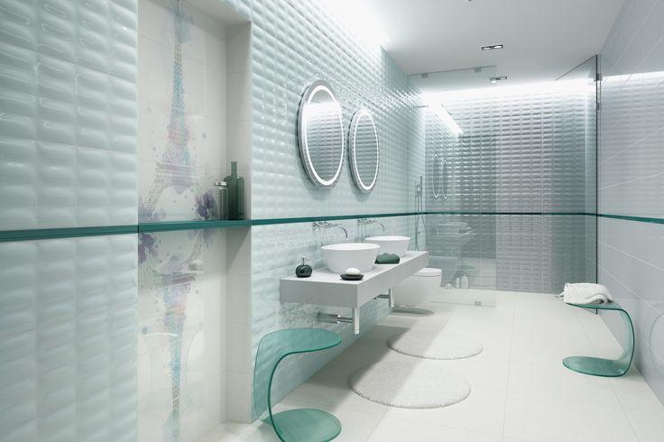 Strukturalne płytki, miętowy kolor, pastelowa aranżacja, strukturalne, błyszczące powierzchnie tchną świeżość do wnętrza. Parisen - Opoczno - kolekcja płytek ceramicznych 25x75.