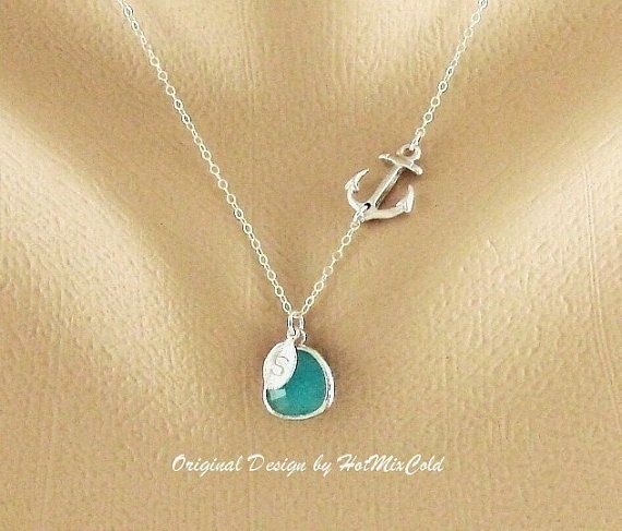 Personalized Sideways Anchor Necklace, SILVER sideways anchor monogram necklace,  Nautical Gift of support, Anchor and Initial Necklace. $35.00, via Etsy.