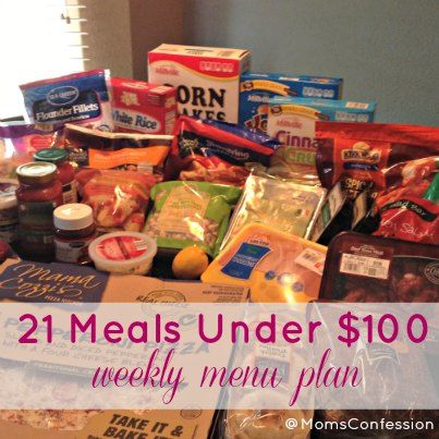 A Weekly Meal Plan: 21 Meals Under $100 http://www.momsconfession.com/weekly-meal-plan-21-meals-under-100/