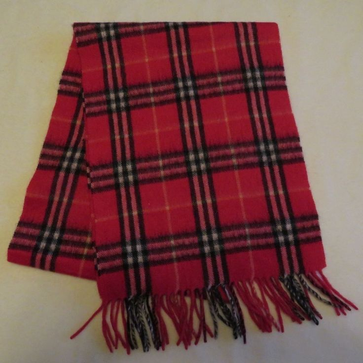 "Red Black Cashmere Wool Scarf Muffler 66"" x 12 Fringed Ends Soft Warm #Unbranded #Scarf"