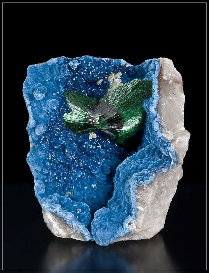 Malachite with Shattuckite and Quartz - Namibia