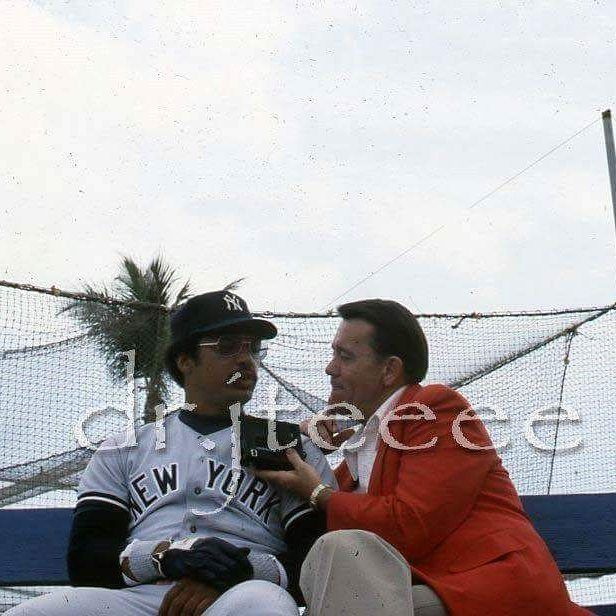 #tbt Reggie doing an interview on a bench down the RF line @ Miami Stadium #OTD forty years ago Oct 18 1977 Mr October was born when he crushed three home runs on three first pitches in Game 6 of the World Series @ Yankee Stadium to lead the Yanks to a 4-2 Series win and back to back titles. Only Babe Ruth had ever hit three bombs in a WS game. Overall Reggie batted .450 with 5 HR 8 RBI to earn Series MVP #reggiejackson #44 #beast #legend #halloffame #allstar #mvp #swag #homerun #power…