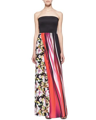 Strapless Botanical & Wave-Print Maxi Dress at CUSP.