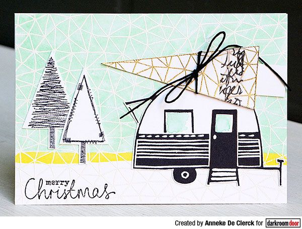Card by Anneke De Clerck using Darkroom Door Abstract Triangles Background Stamp, Stitched Christmas and Carved Caravans Rubber Stamp Set
