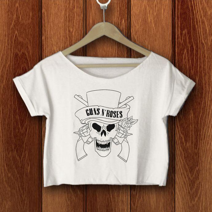 Guns N' Roses crop top shirt Guns N' Roses  crop tee tshirt GR-13-W by SATURNUS, $16.75 USD