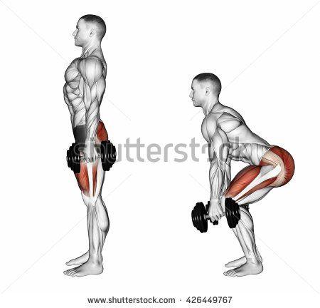 Squats with dumbbells. 3D illustration