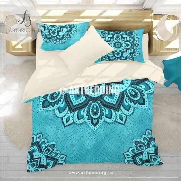Mandala Bedding Aqua And Teal Blue Boho Duvet Cover Set Teal Boho Comforter Set Boho Bedding Mandala Home Decor Comforter Sets Teal Bedding Sets Turquoise Duvet Cover