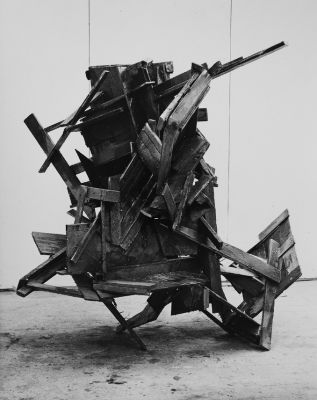 John Panting, untitled, 1974, wood, resin, steel, h183cm