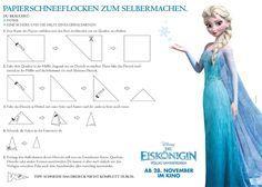 """Papierschneeflocken aus dem Disney-Film """"Die Eiskönigin"""" basteln"""