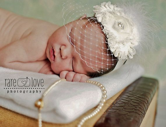head bands for babies with a veil   Baby Baptism Headband .. Birdcage Veil .. Vintage Christening Headband ...