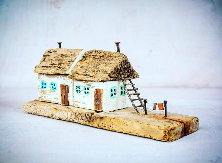 One of a kind Driftwood art house miniatures. Completly hand made from driftwood, reclaimed wood, nails and wires and other metal work details. Ships worldwide. driftwood art driftwood house driftwood cottage miniature house tiny house miniature wood house diorama houses Richi Driftwood Art