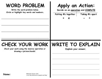 A great problem solving template for word problems! This would work great for simultaneous RoundTable, then everyone is writing their own problem, then checking and solving others.