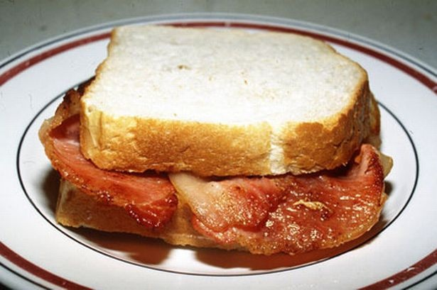 Bacon butty - preferably on fresh, chunky white bread, with no butter ...