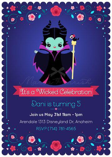 Maleficent Party invitation #disneyside disney, pixar, kawaii, love, flower, party, celebration, evil queen, malefica, Halloween, invitation, sleeping beauty, princess, fairy tale