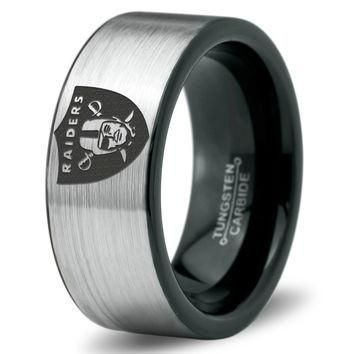 2015 Tungsten Carbide Oakland Raiders Football RingHigh Quality In Style Tungsten Carbide Oakland Raiders Football Ring★ Comfort Fit ★ 9mm★ Black Enamel Plated★