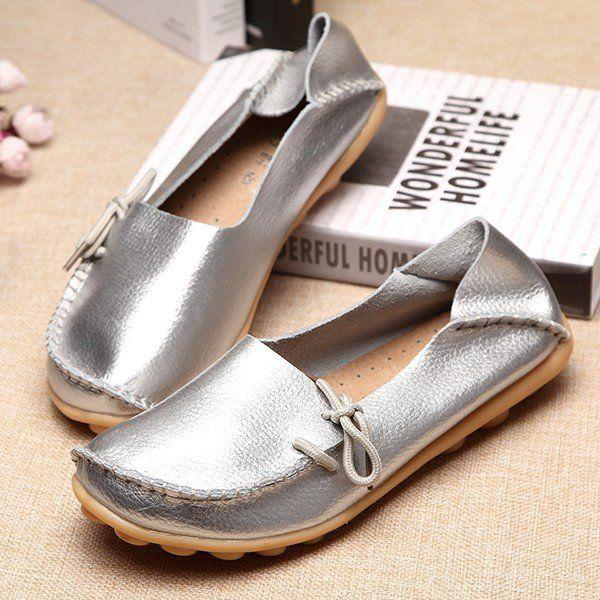 Big Size Shine Lace Up Flat Soft Pure Color Leather Shoes