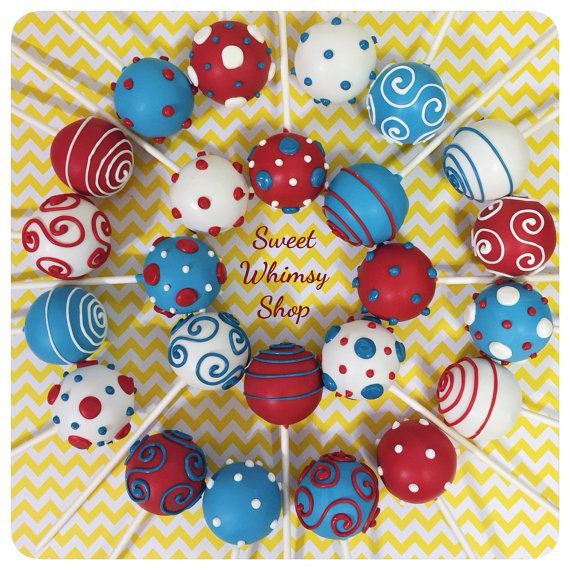 12 Assorted Polka Dots & Swirl cake pops for by SweetWhimsyShop