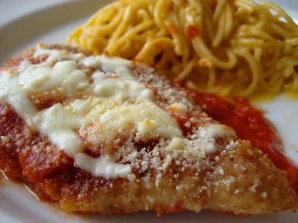 Chicken Parmesan from Food.com:  http://www.food.com/recipe/chicken-parmesan-9528