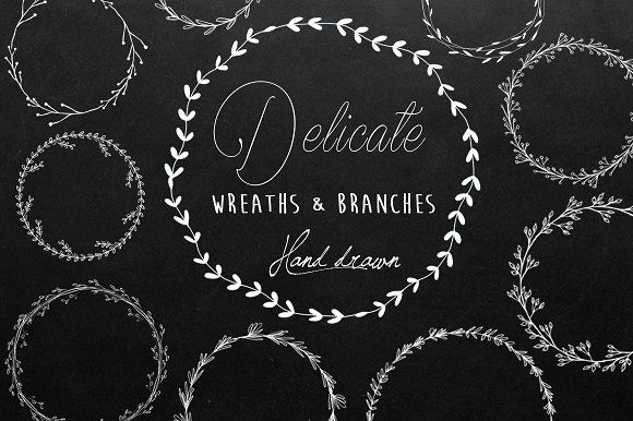 Black and White Wreaths and branches Clip Art - Delicate original set, hand drawn by Maraquela