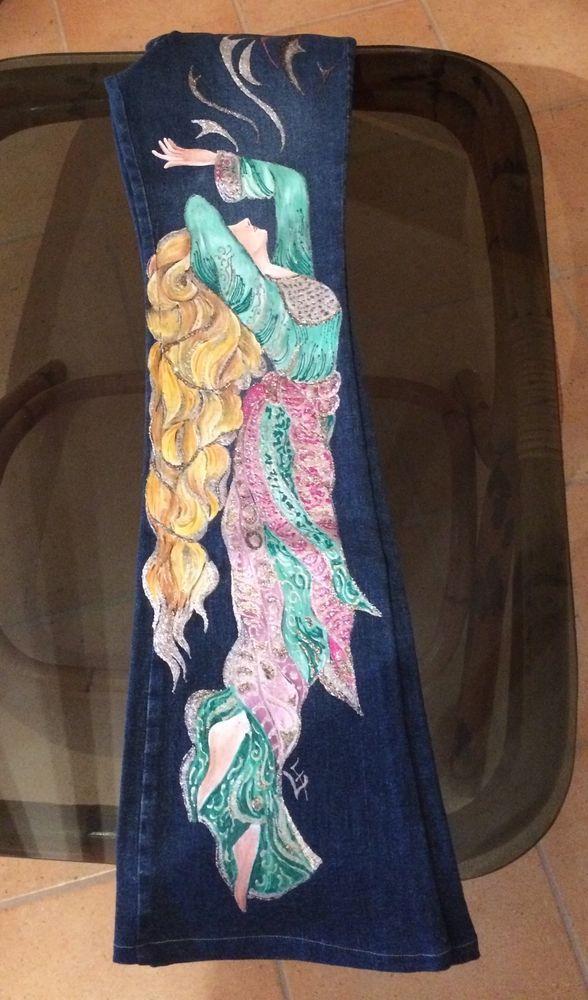 Jeans donna dipinti a mano