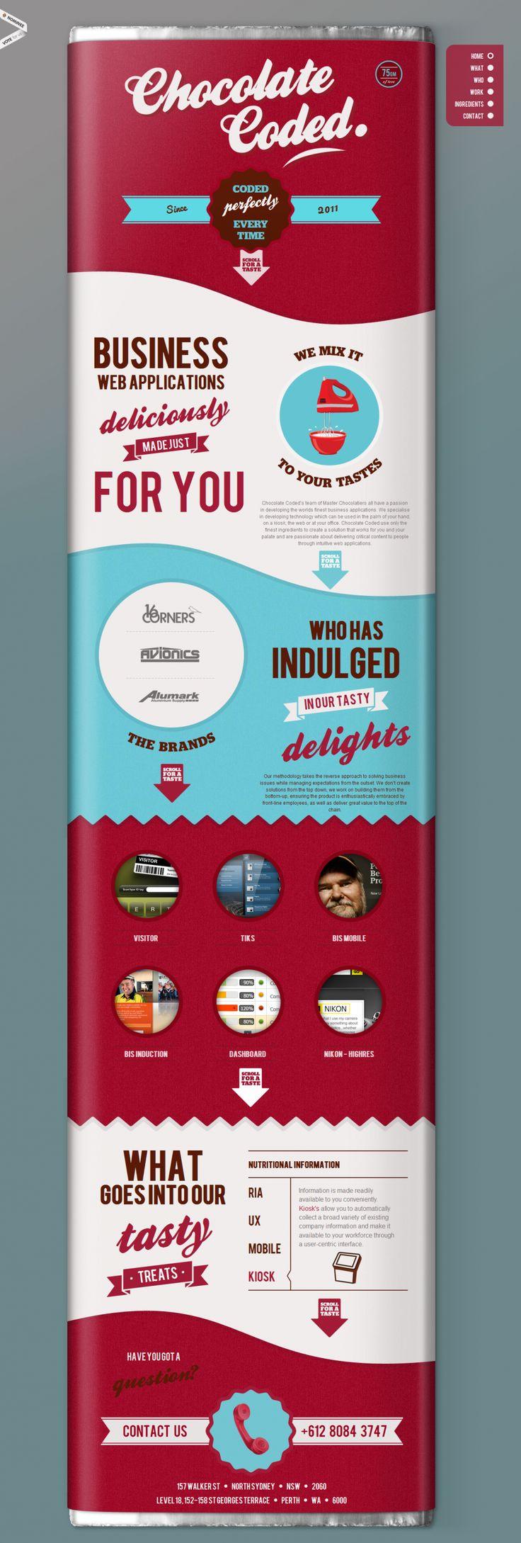 Unique Web Design, Chocolate Coded #webdesign #design (http://www.pinterest.com/aldenchong/)