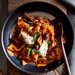 Prepare our pappardelle with pork ragu and burrata using fresh pappardelle, which can be homemade or found at many grocery stores and Italian delis.