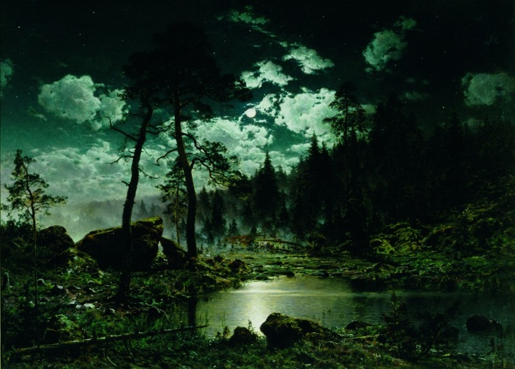 Hjalmar Munsterhjelm (1840–1905): Forest Pool in Moonlight, 1883