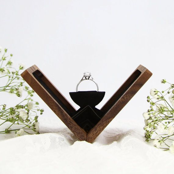 Slim engagement ring box, wedding ring box, anniversary gift, wooden ring box, hand made proposal box, Walnut (Rectangle), Belladora