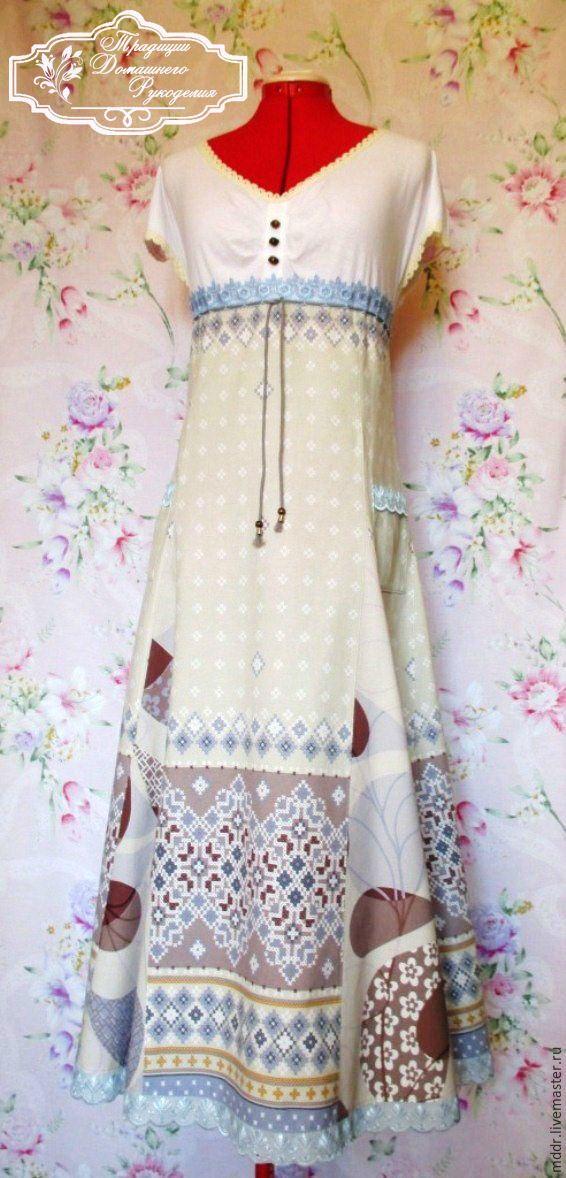 Купить бохо хлопковое платье в пол Юлита - шебби, бохо стиль, бохо сарафан