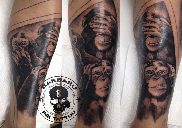 #tattoo #tattooist #tattooed #bestspaintattooartist #blackandgreytattoo #monkeystattoo #noseenohearnospeaktattoo