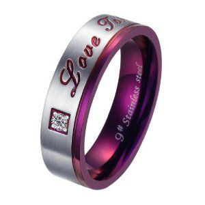 Wedding Gift:Brand New Titanium Stainless Steel Promise Ring Love Couple Wedding Bands Engagement Purple Gift
