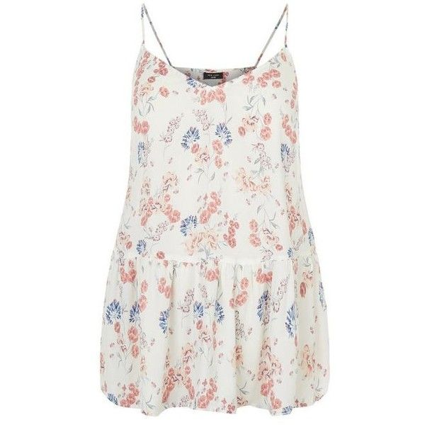 New Look Plus Size White Floral Print Peplum Cami ($19) ❤ liked on Polyvore featuring women plus size tops, plus size camisoles, white camisole, white cami and white tank top