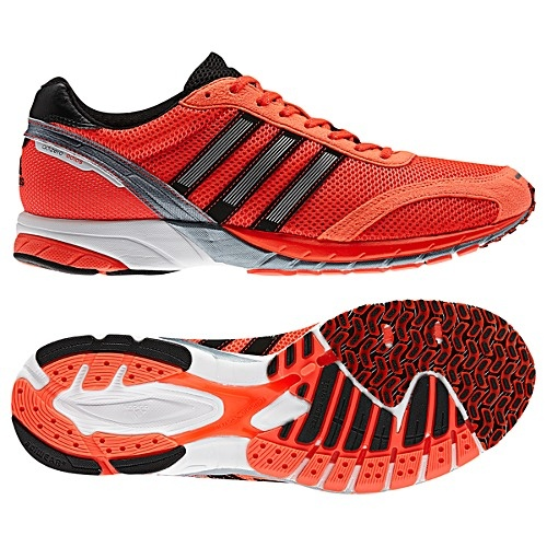 Adidas Adios is my new racing flat. I love them because it makes me super-duper easy to spot in race photos. Only trouble is that florescent pink/orange shoes set a high bar for fast.