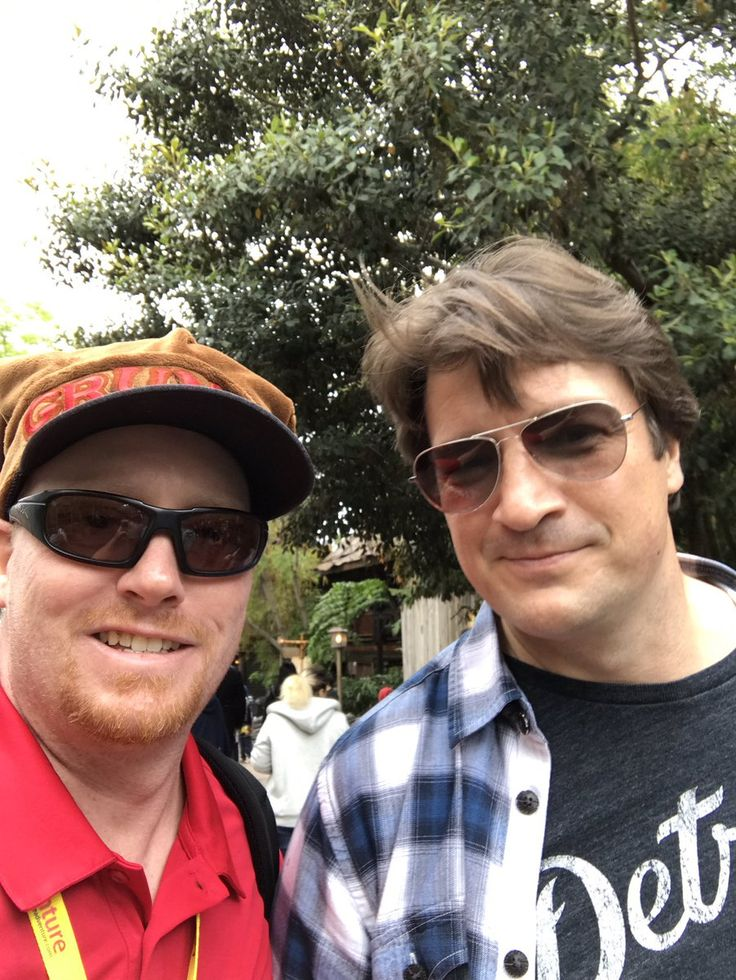 Eric Rogers @mgcchkn May 7, 2017   Just ran into @NathanFillion at @Disneyland!!! One of my favorites ever! Thanks for being awesome Nathan!