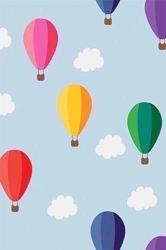 9536 Rainbow Hot Air Balloons Backdrop