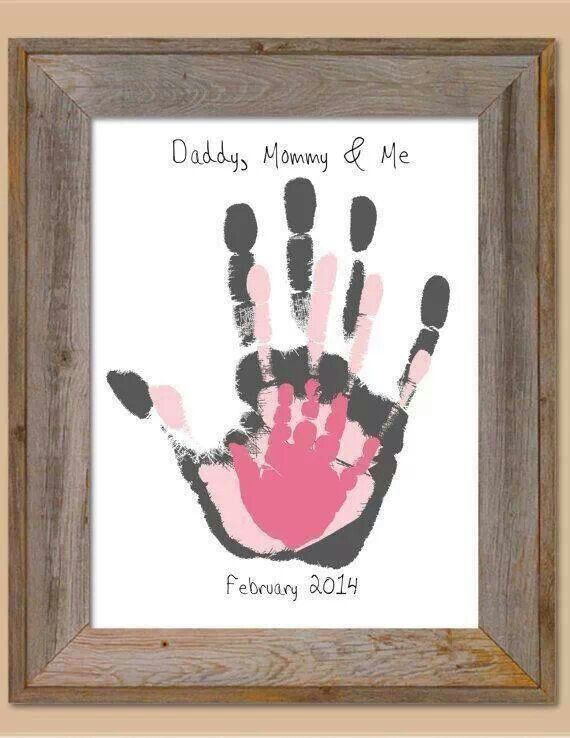 So cute. Daddy, mommy and me hand print art.