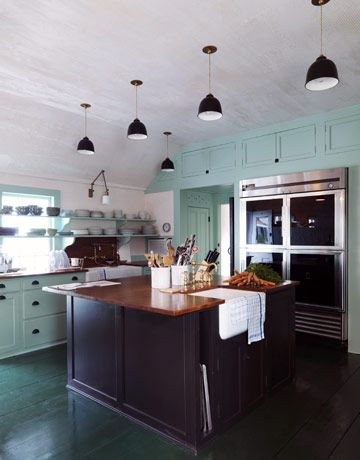 beautiful cabinet color: House Beautiful, Green Cabinets, Color Combos, Blue Green, Cabinets Color, Blue Kitchens, Green Kitchens, Kitchens Color, Kitchens Cabinets