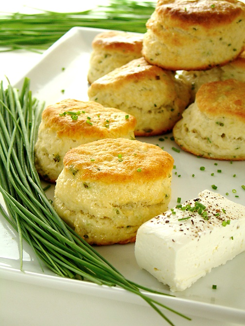 Delicious cream cheese and chive biscuits.