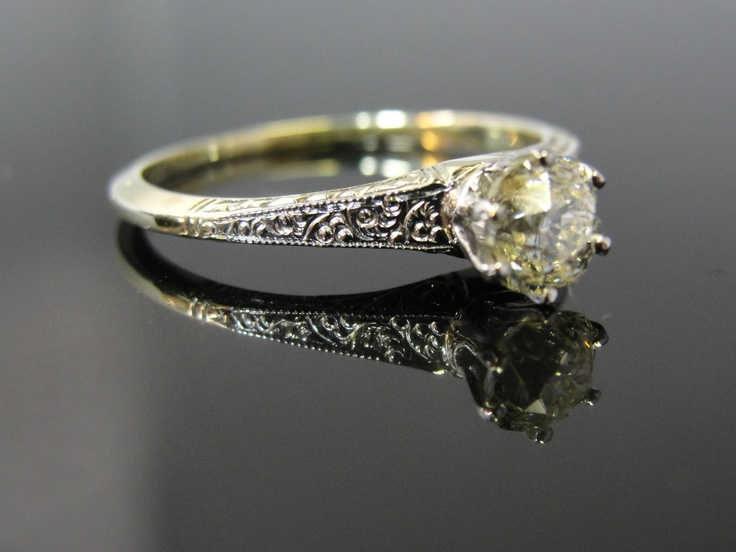Reserved- Second (and Final) Payment- Platinum Mine Cut Scroll Engraved Victorian Diamond Solitaire Engagement Ring Unique Vintage RGDI815. $1,508.00, via Etsy.