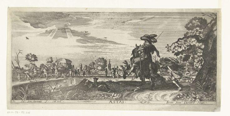 Herman Breckerveld   Zomer, Herman Breckerveld, Adriaen Pietersz. van de Venne, Broer Jansz (Den Haag), 1626   Landschap met rechtsvoor een ruiter met zijn hond en een, achter hem aan lopende, bediende. Aan de overkant van een vaart een koets en een wandelend gezelschap. In de verte is een kerktorenspits te zien. Voorstelling van de zomer uit een prentserie van de vier jaargetijden.