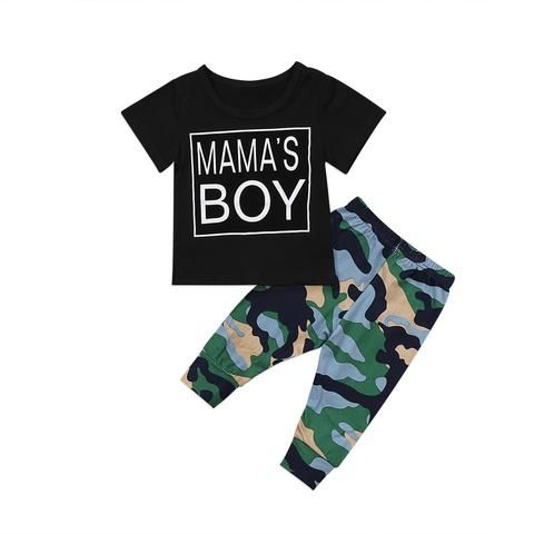 91c3db24d1468 Toddler Infant Baby Boy mamas Camo Outfits Casual Tops Pants 2Pcs Set  Clothes 0-2T