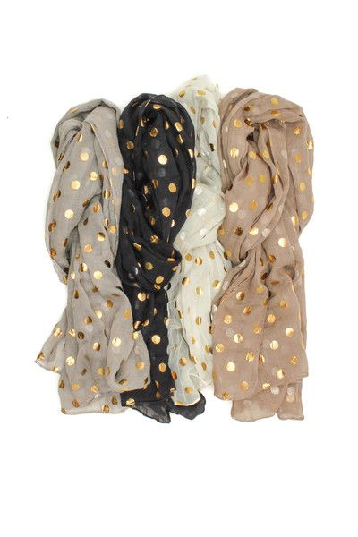 Gold Dot Scarf! Available in four colors!  Go to the Primal Eye in Green Bay to find these beautiful scarves!