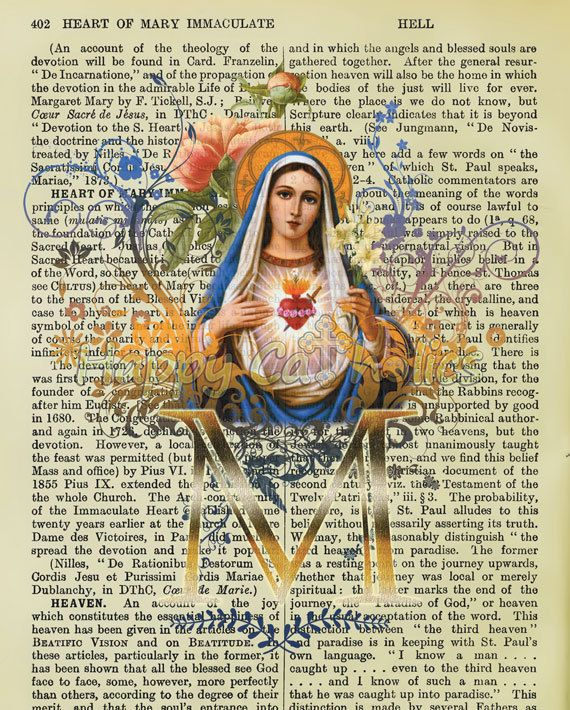 "For this print, our popular Immaculate Heart of Mary design has been placed on top of a page from a vintage 1916 Catholic dictionary, on which the listings include ""Heart of Mary Immaculate."""