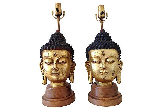 1940s Gilded Ceramic Buddha Lamps, Pair on OneKingsLane.com