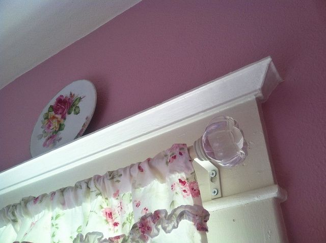 Bathroom window curtain rod/trim by eg2006, via Flickr