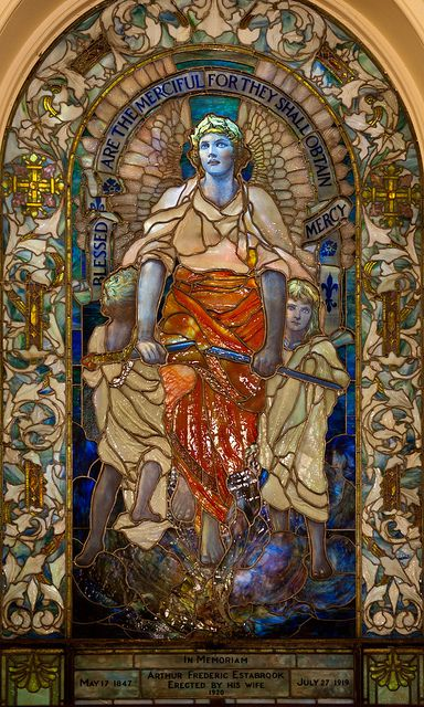 """Blessed are the merciful for they shall obtain Mercy"" Tiffany Glass Window, Upper level, Arlington Street Church, Boston, Tiffany Glass Window, Upper level, Arlington Street Church, Boston."