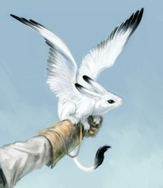 The tammer, also known as winged rabbit - a popular pet among the elves. IllustStudio, tablet ( speedpaint - about 40 min )