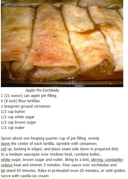 Apple Pie Enchiladas- can do cherry, too. Replace butter with earth balance and its cruelty-free